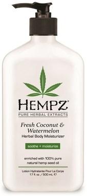 "Молочко ""Hempz Fresh Coconut & Watermelon Herbal Moisturizer увлажняющее Кокос и Арбуз"" 500мл для тела - фото 5858"